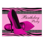 High Heels & Hot Pink Zebra Birthday Party Announcement
