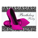 High Heels Hot Pink Zebra Birthday Party Personalized Announcement