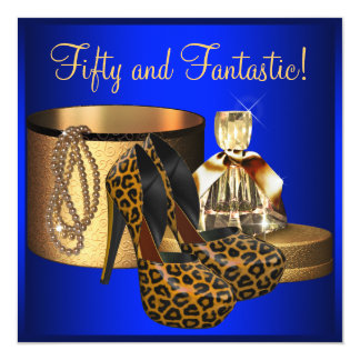 High Heels Leopard Blue Gold Womans 50th Birthday 5.25x5.25 Square Paper Invitation Card