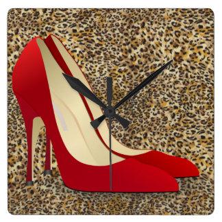 high heels red square wallclock