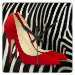 high heels red clock