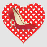 high heels red heart stickers