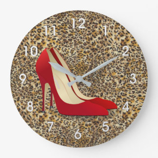 high heels red large clock