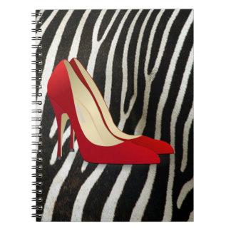 high heels red notebook