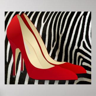 high heels red print