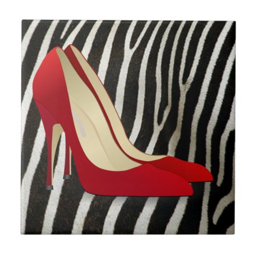 high heels red small square tile