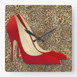high heels red square wall clock