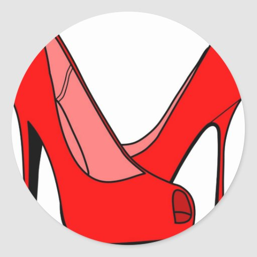 High heels round sticker