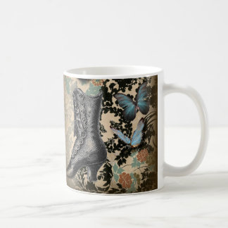 high heels shoe lover black floral victorian coffee mug