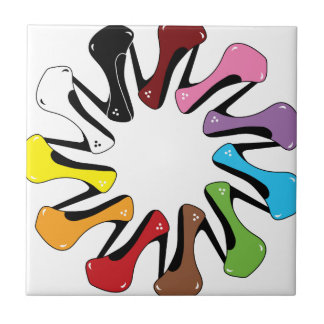 High_Heels_Shoe_of_Every_Color COLORFUL COLLECTION Small Square Tile