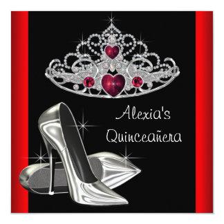 High Heels Tiara Red Black Quinceanea Announcement