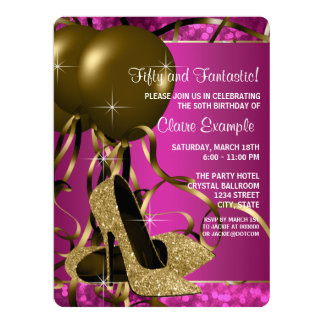 High Heels Womans Hot Pink and Gold Birthday Party 6.5x8.75 Paper Invitation Card