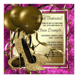 High Heels Womans Hot Pink Birthday Party 5.25x5.25 Square Paper Invitation Card