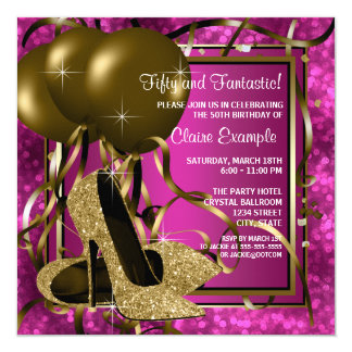 High Heels Womans Hot Pink Birthday Party Invite