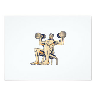 High Intensity Interval Training Dumbbell Etching 6.5x8.75 Paper Invitation Card