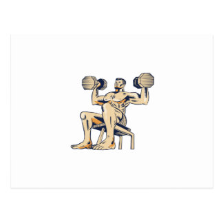 High Intensity Interval Training Dumbbell Etching Postcard
