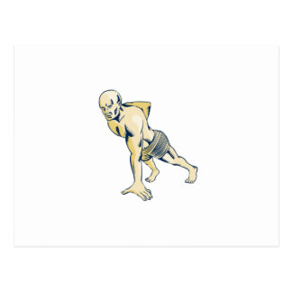 High Intensity Interval Training Push-up Etching Postcard