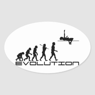 High Jump Sport Evolution Art Oval Sticker