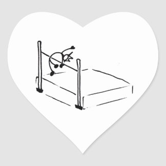 High Jump StickMan Track and Field Heart Sticker