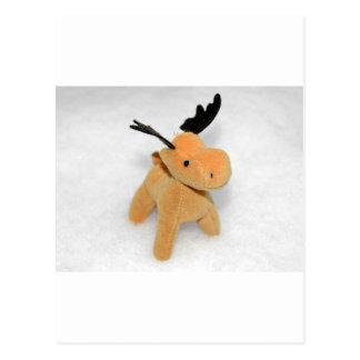 High Key Christmas Moose Deer Snow Post Card