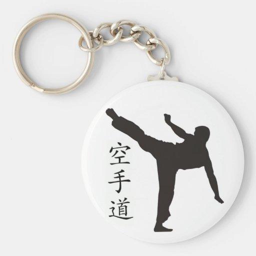 High Kick/Karate Kanji Basic Round Button Keychain