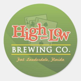 High-Low Brewing Company Pegatina Redonda