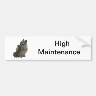 High Maintenance Chipmunk Bumper Sticker Car Bumper Sticker