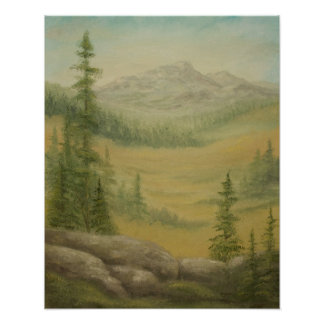 High Mountain Meadow Landscape Poster