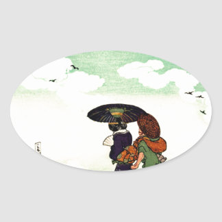 High Noon at Kasumigaseki by Utagawa Kuniyoshi Oval Sticker