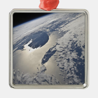 High-oblique view of the Gaspe Peninsula Square Metal Christmas Ornament
