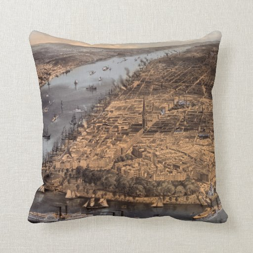 High over New York City in 1856 2-sided pillow