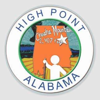 HIGH POINT ALABAMA  CHEAHA MT. CLASSIC ROUND STICKER