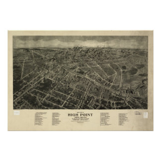 High Point N. Carolina 1913 Antique Panoramic Map Poster