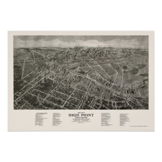 High Point, NC Panoramic Map - 1913 Poster