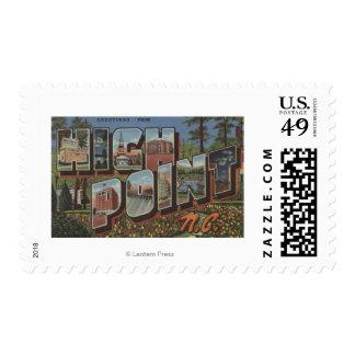 High Point, North Carolina - Large Letter Scenes Postage Stamp