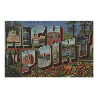 High Point, North Carolina - Large Letter Scenes Poster