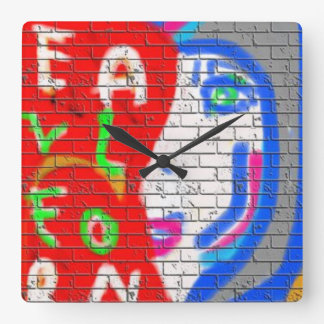 High Priestess Face Never Alone Graffiti Art Square Wall Clock