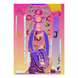 High Priestess Purple Pink Tarot Poster