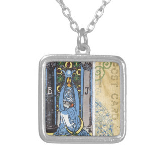 High Priestess Tarot Card Fortune Teller Postcard Silver Plated Necklace