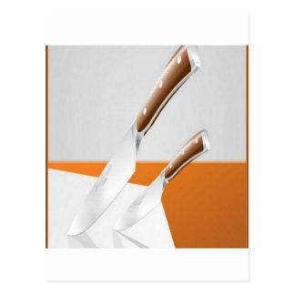 High-quality knives design postcard