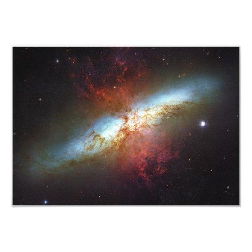 High Rate Star Formation Starburst Galaxy M82 3.5x5 Paper Invitation Card