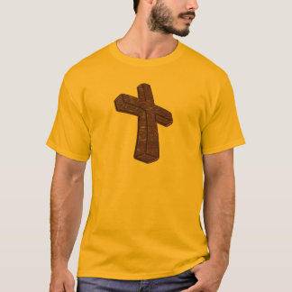 High Resolution Wood Grain Cross T-Shirt