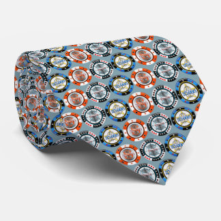 High Roller Poker Chips Tie Blue Background