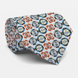 High Roller Poker Chips Tie Gray Background