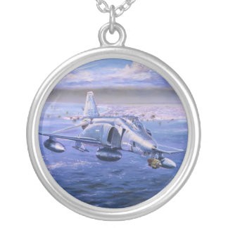 High Rollers over Kuwait by Rick Herter Round Pendant Necklace