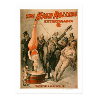 High RollersDunking Woman in Beer Poster Postcard