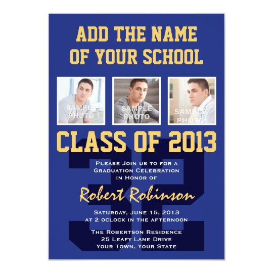 High School Athlete Sports Graduation Blue Gold Card