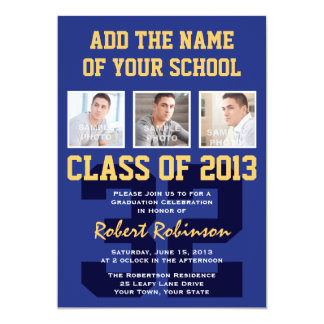 High School Athlete Sports Graduation Blue Gold 5x7 Paper Invitation Card