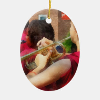 High School Band at Parade Double-Sided Oval Ceramic Christmas Ornament