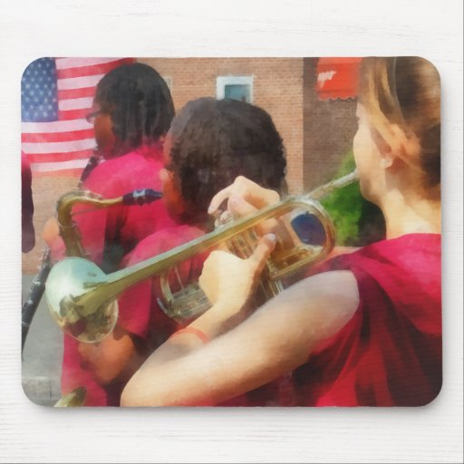 High School Band at Parade Mouse Pads
